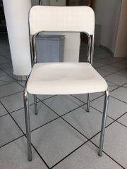 Stuhl weiß mit Chrom