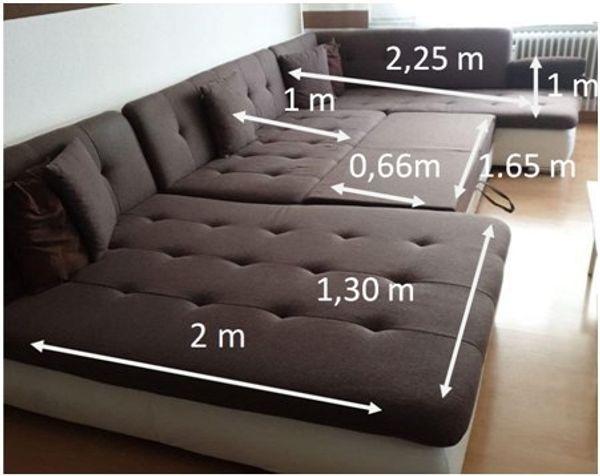 Big Sofa Xxl Mit Bettfunktion Und Kissen Neuwertig Braun Weiß In