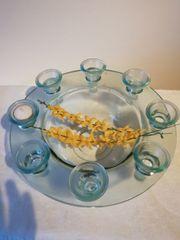Dekoration Glas Schale Schüssel mit Kerzenhalter-Rand