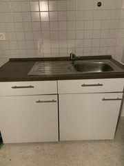 2 Küchenblöcke weiß braun Holz