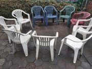 10 Gartenstühle verschiedene modelle inortnung