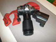 Canon AE-1 mit Metz Blitz