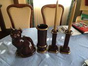 Katze Vase und 2 Kerzenständer