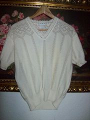 Vintage Pullover Spitzenmuster Gr S