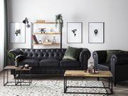 3er Sofa Kunstleder schwarz CHESTERFIELD
