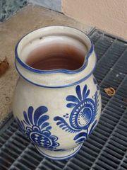 Krug Vase grau blau handgedreht