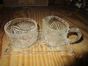 Kristallglas Milch - Zuckertopf und Unterlage