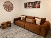 Samt Couch - Kupferbraun