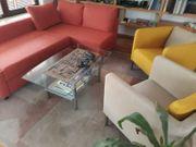 Eckbettsofa 2 Sessel Glastisch Teppich