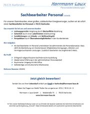 Sachbearbeiter Personal m w d