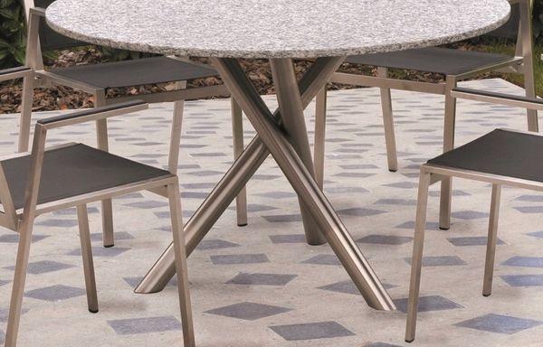 Stilvoller Unikat Design Gartentisch Aus Edelstahl Und Granit In