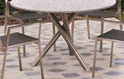 Stilvoller Unikat-Design-Gartentisch aus Edelstahl und
