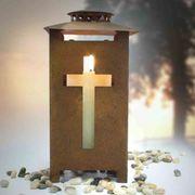 Grablaterne rost mit Kreuz Trauerschmuck
