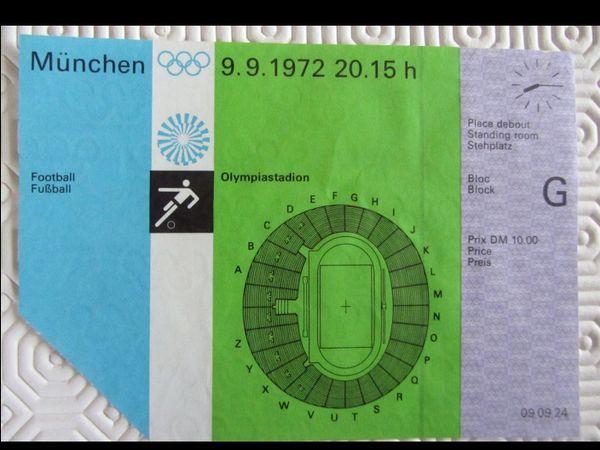 Eintrittskarte Olympiade 1972 München Fußball