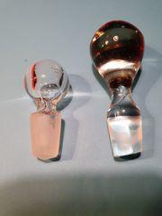 2 alte Glas-Bleikristall Karaffen-Flaschenverschlüsse