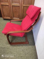 Sessel braun lackiert rote Polsterung