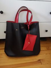 Handtasche schwarz rot Neuwertig