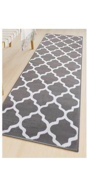 Teppich - Läufer grau weiß