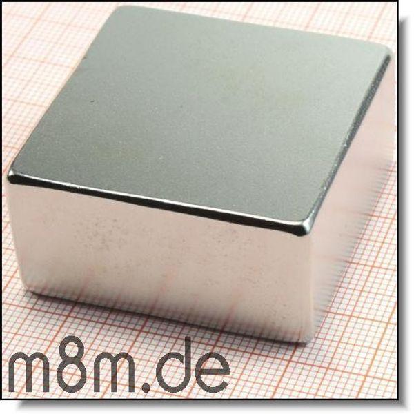 Neodymmagnet Quadermagnet 40 x 40 x 20 mm , Supermagnet