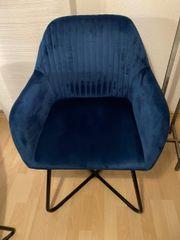 4 x Samtstuhl blau
