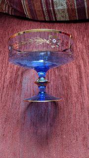 Glasschale Alt Vintage Retro kobaltblau