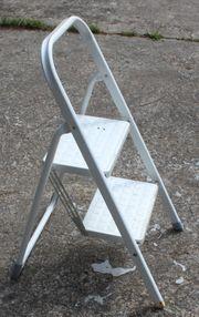 Weißer 2er Tritt kleine Leiter