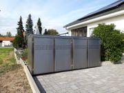 Exklusive hochwertige Edelstahl-Mülltonnenbox 4 x
