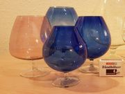 blaue Cognacschwenker aus Rauchglas