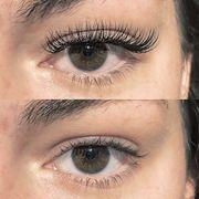 Wimpernverlängerung make-up und Haare