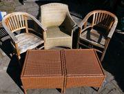 2 Gartenstühle Teakholz 2 PolyRattan