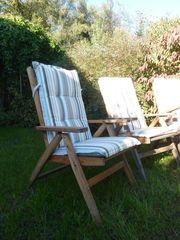 Gartenstühle Holz verstellbar mit Polsterauflage