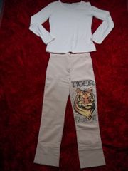 3 4 Stoffhose Tiger Print