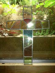 2 Kreuze aus Antik-Glas Bleieinfassung
