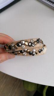 Armband Wickelarmband Nieten beige