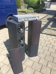 Stereoanlage mit Verstärker und 2