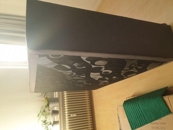 Boxspringbett 140x200 dunkelgrau Strukturstoff neuwertig