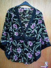 Bluse Chiffonbluse Kimonoärmel Blütenprint Japanstil