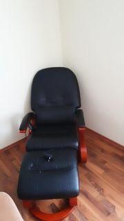 elektrischer Massagesessel in schwarz Fernbedienung