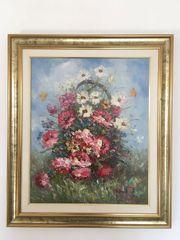 Original Gemälde Blumen im Korb