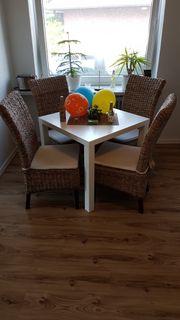 4 Rattan Esszimmer Stühle inkl