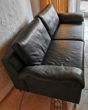 2 Dickleder-Sofas night blue bayrischer