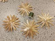 Strohsterne 3 Stück grüngoldener Faden