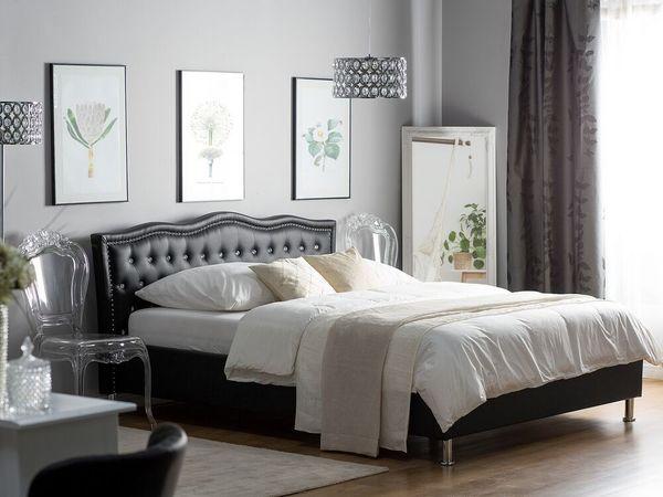 Bett Kunstleder schwarz mit Bettkasten