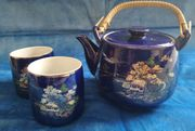 Teeservice aus Porzellan Kobaltblaue mit