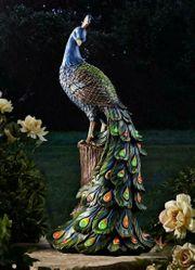 Dekofigur Pfau groß Tierfigur Figur