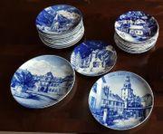 Delfter Porzellan und Wandteller in