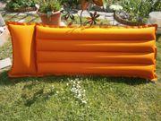 Luftmatratze orange blau zwei Kammern