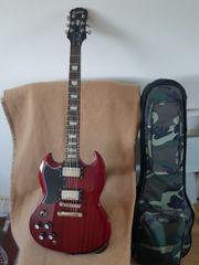 Linkshänder E-Gitarre inkl Zub und
