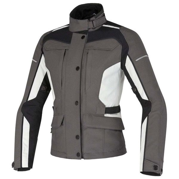Damen Motorradjacke Textil Grau schwarz