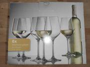 NEU OVP 6 Weißwein-Gläser Kristallglas